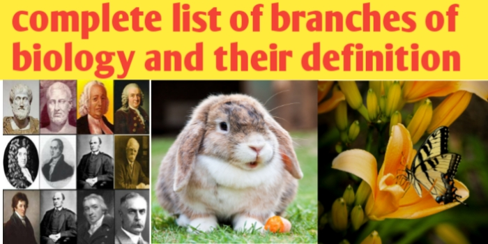 Complete list of branches of biology and their definition